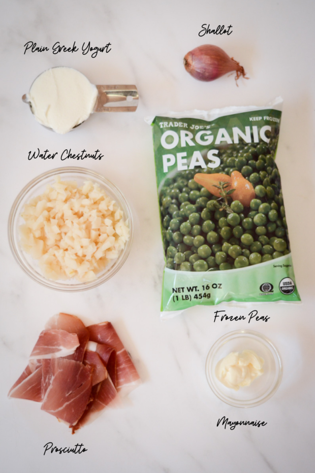 Ingredients needed to make pea salad.