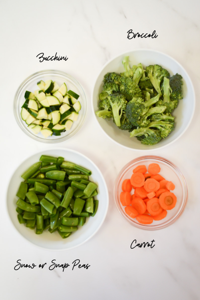 Vegetables to be added to beef and veggie stir-fry.