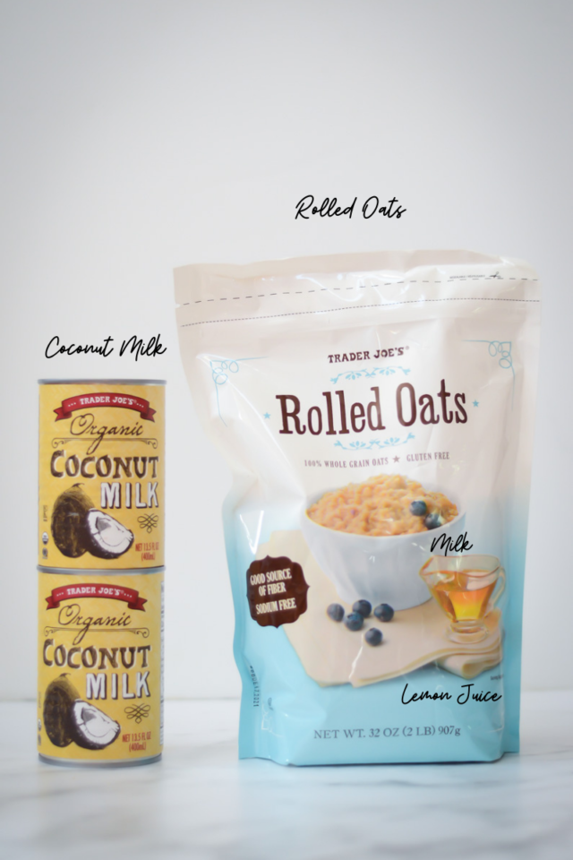 Ingredients needed for freezer oatmeal cups.
