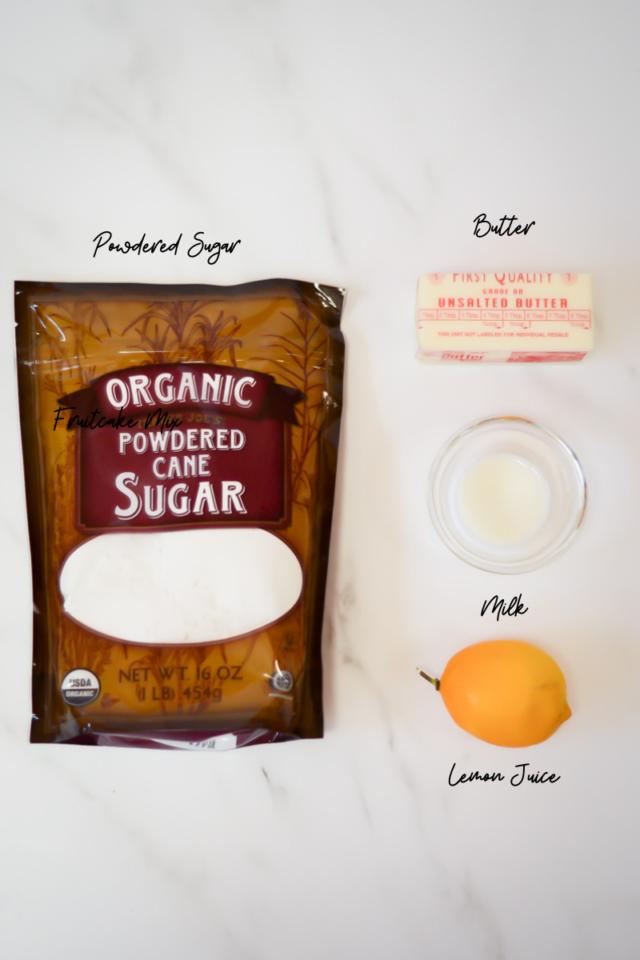 Ingredients needed for Hot Cross Bun icing.