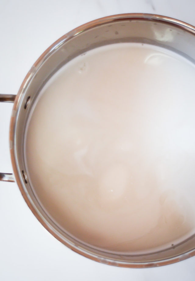 A saucepan full of coconut milk and water.