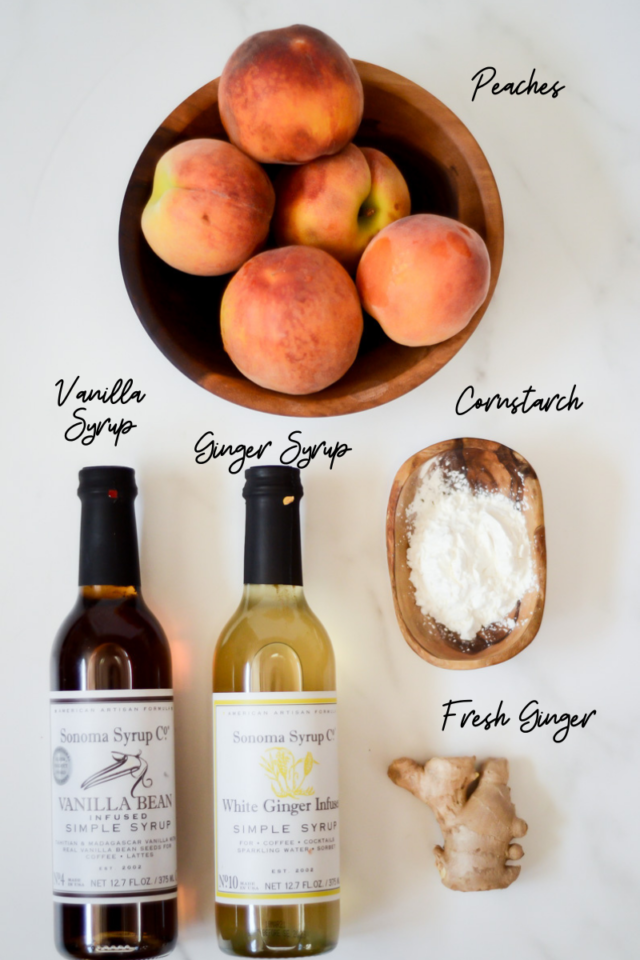 Ingredients needed for the peach filling in Ginger Peach Cobbler.