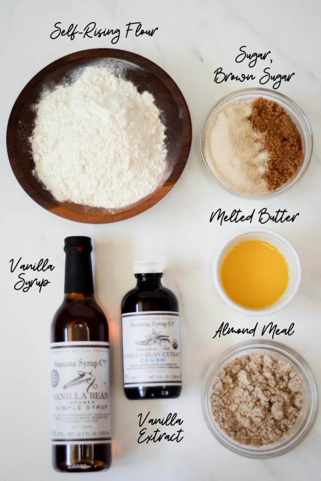 Ingredients for cobbler part of Ginger Peach Cobbler.